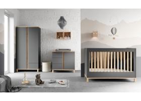 Pack Trio Chambre complète Altitude : Lit bébé 60 x 120 + Commode à langer + Armoire - Gris