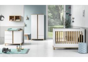 Pack Trio Chambre complète Altitude : Lit bébé 70 x 140 + Commode à langer + Armoire - Blanc