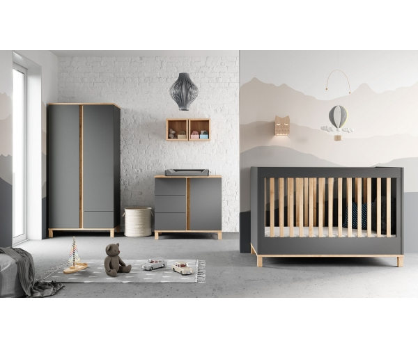 Pack Trio : Baby Bed 70 x 140 + Dresser With Changing Table Altitude + 2 Wardrobe - Grey