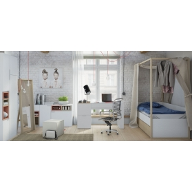 BED 4 YOU White with Canopy and Bottom bed with frame - 90 x 200 cm