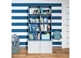 Ensemble Bibliothéque bleu et Commode grise