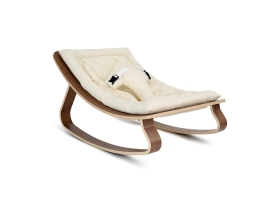 Baby Rocker LEVO Walnut - Organic White Cushion