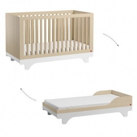 Baby Bed 70 x 140 cm - Playwood birch white with transformation Kit