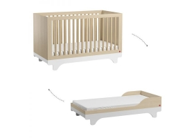 Lit bébé évolutif Playwood VOX 70 x 140 cm - Bois Naturel (kit de transformation inclus)