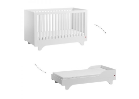 Baby Bed 70 x 140 cm - Playwood white with transformation Kit