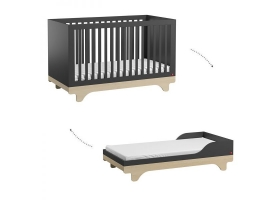 Baby Bed 70 x 140 cm - Playwood graphite birch with transformation Kit