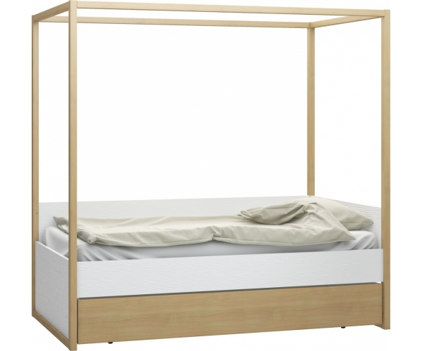 Bed 4 you White with canopy and drawer - 90 x 200 cm