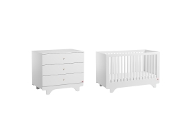 Pack Duo : Lit bébé 70 x 140 + Commode à langer Playwood - Blanc