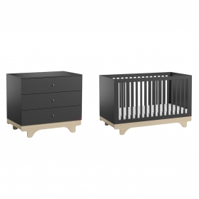 Pack Duo : Baby Bed 70 x 140 + Dresser With Changing Table Playwood - Grey