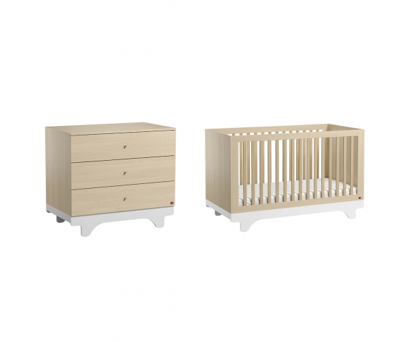 Pack Duo : Baby Bed 70 x 140 + Dresser With Changing Table Playwood - Birch White