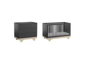 Pack Duo : Baby Bed 70 x 140 with transformation kit + Dresser With Changing Table Playwood - Grey
