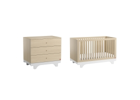 Pack Duo : Baby Bed 70 x 140 with transformation kit + Dresser With Changing Table Playwood - Birch White