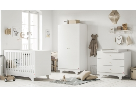 Pack Trio : Lit bébé 70 x 140 + Commode à langer + Armoire Playwood VOX - Blanc