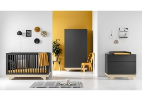 Pack Trio : Lit bébé 70 x 140 + Commode à langer + Armoire Playwood VOX - Gris
