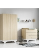 Pack Duo : Baby Bed 70 x 140 + Dresser With Changing Table Playwood + Wardrobe - Birch White