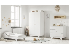 Pack Duo : Baby Bed with transformation kit 70 x 140 + Dresser With Changing Table Playwood + Wardrobe - White