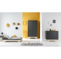 Pack Duo : Baby Bed with transformation kit 70 x 140 + Dresser With Changing Table Playwood + Wardrobe - Grey