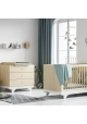 Pack Duo : Baby Bed with transformation kit 70 x 140 + Dresser With Changing Table Playwood + Wardrobe - Birch White