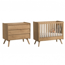 Pack Duo : Baby Bed 70 x 140 with transformation kit + Dresser With Changing Table Vintage VOX - Natural