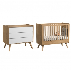 Pack Duo : Baby Bed 70 x 140 with transformation kit + Dresser With Changing Table Vintage VOX - White / Natural