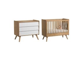 Pack Duo : Lit bébé évolutif 70 x 140 + Commode à langer Vintage VOX - Blanc / Naturel