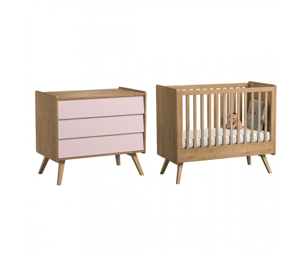 Pack Duo : Lit bébé évolutif 70 x 140 + Commode à langer Vintage VOX - Rose poudré / Naturel
