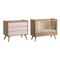 Pack Duo : Baby Bed 70 x 140 with transformation kit + Dresser With Changing Table Vintage VOX - Powder pink / Natural