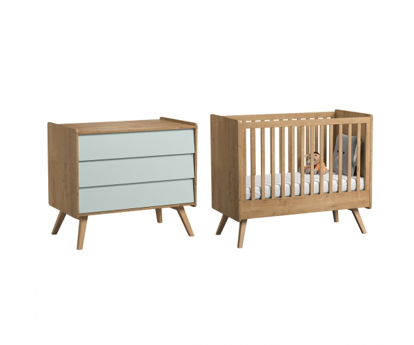 Pack Duo : Baby Bed 70 x 140 with transformation kit + Dresser With Changing Table Vintage VOX - Green / Natural