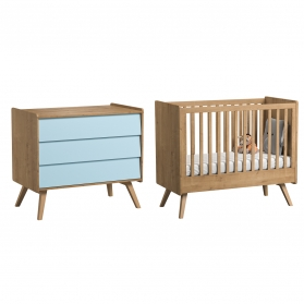 Pack Duo : Baby Bed 70 x 140 with transformation kit + Dresser With Changing Table Vintage VOX - Blue / Natural