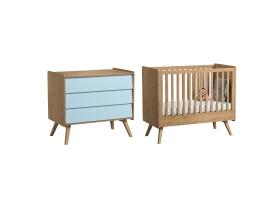 Pack Duo : Lit bébé évolutif 70 x 140 + Commode à langer Vintage VOX - Bleu / Naturel