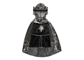 Costume de Chevalier 3 pièces argent : tunique, cape et couronne