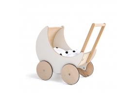 Landau de poupée en bois blanc Toy Pram