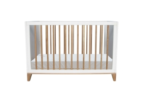 Nami Cedar and Rattan Weave Baby Bed 60x120cm White