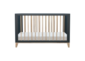 Nami Cedar and Rattan Weave Baby Bed 60x120cm Black
