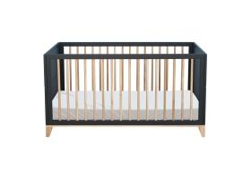 Lit bébé évolutif NAMI cèdre et cannage rotin 70 x 140 cm - Noir