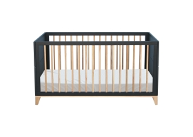 Nami Cedar and Rattan Weave Baby Bed 70x140 cm Black