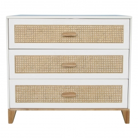 Nami Cedar and Rattan Weave Chest of Drawers White
