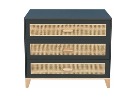 Nami Cedar and Rattan Weave Chest of Drawers Black
