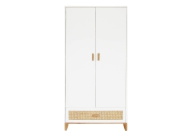 2-DOOR WARDROBE Nami Cedar Rattan Weave Cabinet White by Théothéo