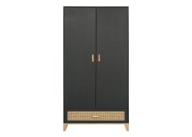 2-DOOR WARDROBE Nami Cedar Rattan Weave Cabinet Black by Théo
