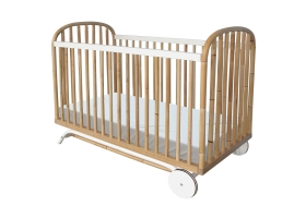 Delphy Cedar and Rattan Weave Baby Bed 60x120cm White