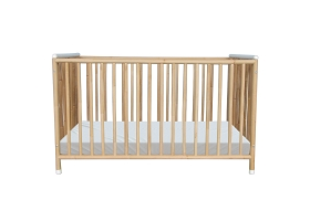 TETHYS Rattan Weave Baby Bed 60x120cm White
