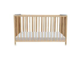 TETHYS Rattan Weave Baby Bed 60x120cm White
