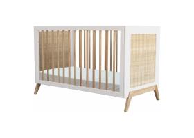 Lit bébé évolutif MARELIA cèdre et tressage rotin 60 x 120 cm - Blanc