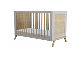 Lit bébé évolutif MARELIA cèdre et tressage rotin 60 x 120 cm - Gris clair