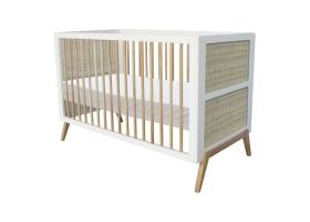 Lit bébé évolutif MARELIA cèdre et tressage rotin 70 x 140 cm - Blanc
