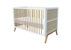 Marelia extendable Cedar and Rattan Weave Baby Bed 70x140 cm White