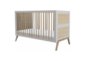 Marelia extendable Cedar and Rattan Weave Baby Bed 70x140 cm Light grey
