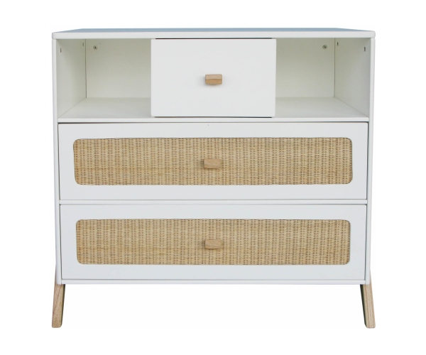 Marelia Cedar and Rattan Weave Chest of Drawers White