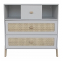 Marelia Cedar and Rattan Weave Chest of Drawers Light grey
